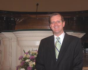 Philip Ryken - Philip Ryken in front of the pulpit of Tenth Presbyterian Church, 2010.