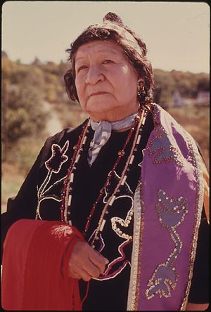 Iowa people - Mary Louise White Cloud Rhodd, granddaughter of Chief James White Cloud, in Iowa regalia, White Cloud, Kansas, 1974