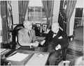 Photograph of President Truman conferring with the Prime Minister of Great Britain, Winston Churchill, in the Oval... - NARA - 200350.tif