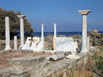 Karpathos - Remains of the early Christian basilica of St Fotini, Pigadia