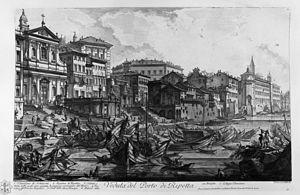 Alessandro Specchi - Porto di Ripetta, engraving by Piranesi