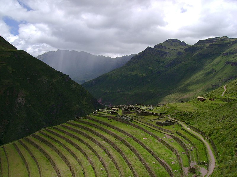 Inca agricultural terraces in pisac images frompo for Terrace farming diagram