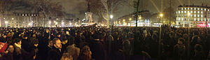 Paris - Anti-terrorism demonstration on Place de la République after ''Charlie Hebdo'' shooting (11 January 2015)