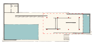 Free plan - Plan of the Barcelona Pavilion. The columns (red) support the roof, while the walls are freely positioned.