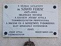 Plaque of Ferenc Szántó, 15 Munkácsy Street, 2017 Abony.jpg