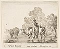 Plate 2- a peasant woman herds two cows across a stream, walking towards the left, from 'Diversi capricci' MET DP817353.jpg