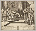 Plate 8- Psyche seated at a table and attended by invisible servants, Eros beside the goddess, from 'The Fable of Cupid and Psyche.' MET DP824496.jpg