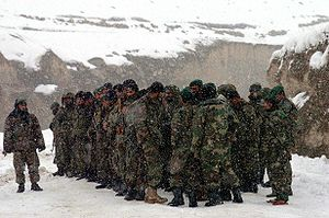 Kam Air Flight 904 - A platoon of the Afghan National Army at a rescue operation in February 2005.