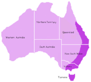 Platypus range (indicated by darker shading)
