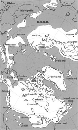 Laurentide Ice Sheet - The maximum extent of glacial ice in the north polar area during the Pleistocene period included the vast Laurentide ice sheet in eastern North America.
