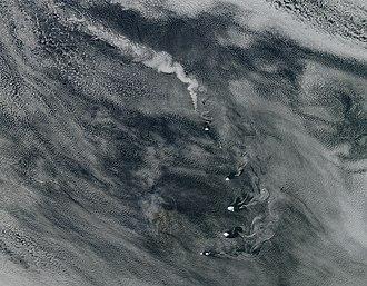 Zavodovski Island - Plume from Zavodovski volcano