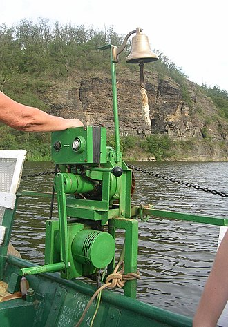 Cable ferry - Chain-pulling engine of a small ferry on Berounka river near Prague, Czechia