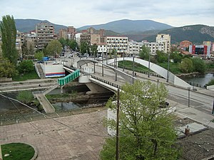 Mitrovica, Kosovo - Bridge over the Ibar, which divides the city in two.