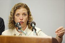 Image of Debbie Wasserman Schultz speaking at Democratic national Convention.