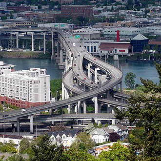Interstate 5 in Oregon - I-5 crosses the Willamette River on the Marquam Bridge, connecting two sides of Portland