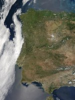 Satellietfoto van Portugal en West-Spanje