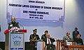 Pranab Mukherjee addressing at the foundation stone laying ceremony of the Sikkim University, at Manan Kendra, Gangtok. The Governor of Sikkim, Shri B.P. Singh and the Chief Minister of Sikkim.jpg