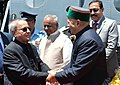 Pranab Mukherjee being welcomed by the Governor of Himachal Pradesh, Shri Kalyan Singh and the Chief Minister of Himachal Pradesh, Shri Virbhadra Singh, on his arrival, at Kalyani Helipad, in Himachal Pradesh.jpg