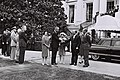Pres. & mrs. Lyndon Johnson welcoming p.m. & mrs. Eshkol in front of the White House in Washington. Standing left under secr. of state George Ball & gen. Chester Clifton. May 1964. D690-017.jpg