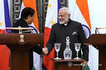 Duterte and Indian Prime Minister Narendra Modi in January 2018 President Rodrigo Roa Duterte and Indian Prime Minister Narendra Modi shake hands after declaring their joint statement following a successful bilateral meeting at the Hyderabad House in New Delhi.jpg