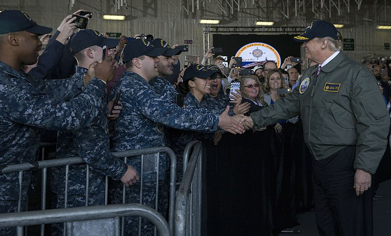 President greets Sailors after entering the hangar bay of USS Gerald R. Ford. (33244756096).jpg