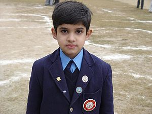A Primary student in Pakistan in uniform