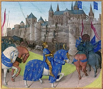 Grandes Chroniques de France - Philip II captures Tours in 1189. Jean Fouquet
