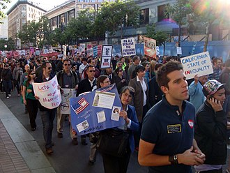 """White Night riots - Protesters at the """"Day of Decision"""" rally marched up Market Street in downtown San Francisco following the California Supreme Court ruling."""