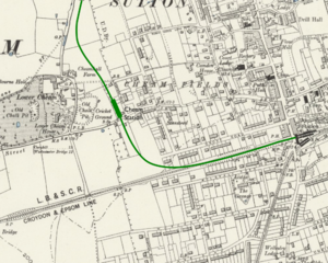 Cheam tube station - Proposed location superimposed on Ordnance Survey map