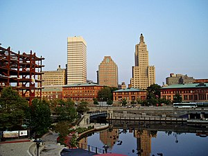 Construction projects in Providence - Providence's existing skyline seen with condominium construction in foreground