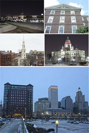 Clockwise, from top left: Providence Place Mall, University Hall at Brown University, Rhode Island State House, Downtown Providence skyline, and the First Baptist Church in America.
