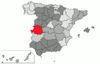 Localización de la provincia de Cáceres en España
