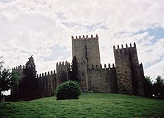 "The 10th-century Castle of Guimarães, a national symbol, is known as the ""Cradle of Portugal"". The Battle of São Mamede took place nearby in 1128."