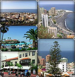 Puerto de la Cruz, Top left:Panorama view of Puerto de la Cruz, Top right:Martianez Beach, Middle left:Laguna Martianez, Bottom left:Armas Square shopping area, Bottom right:View of Araucaria heterophylla tree in Loro Park