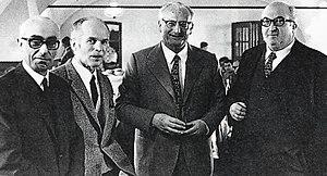 Carlo Chiti - Alfa Romeo engineers. From left, Orazio Satta Puliga, Giuseppe Busso, Giuseppe Luraghi and Carlo Chiti.