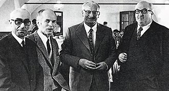 Orazio Satta Puliga - Alfa Romeo engineers. From left, Orazio Satta Puliga, Giuseppe Busso, Giuseppe Luraghi and Carlo Chiti.