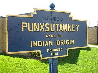 Punxsutawney, Pennsylvania - Image: Punxsutawney, PA Keystone Marker