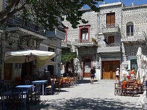 Mastichochoria - Central square of Pyrgi