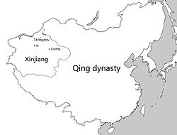 Location of Xinjiang under Qing rule