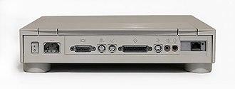 Macintosh Quadra 605 - Ports at the rear of a Quadra 605, including 8P8C Ethernet expansion.