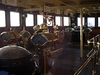 Engine order telegraph - Several engine order telegraphs on the bridge of RMS ''Queen Mary''