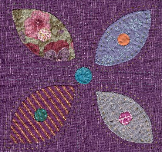 Quilt block applique flower detail