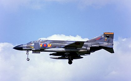 A Phantom FGR2 Of No 92 Squadron Landing At RAF Wildenrath In The Mid 1980s Second Allied Tactical Air Force