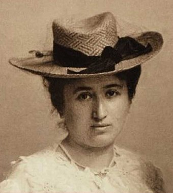 Rosa Luxemburg, leader of the Social Democracy of the Kingdom of Poland and Lithuania RLuxemburgCpWz.jpg
