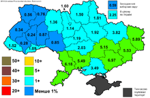 Map of Ukraine, color-coded to indicate support for Rabinovich