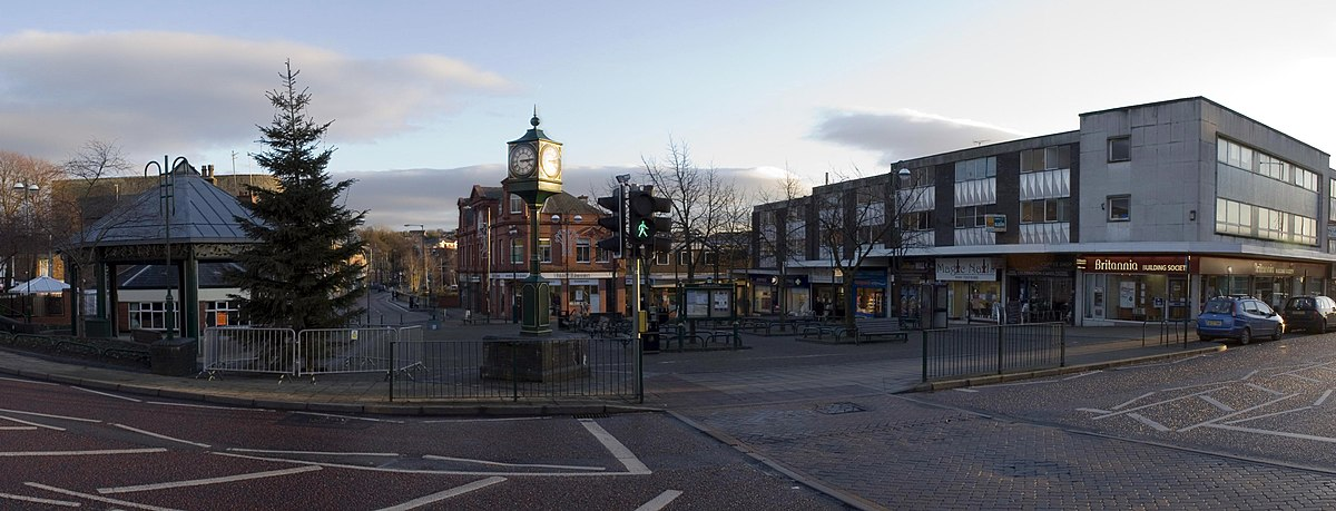 A panorama of Radcliffe's main shopping area, Radcliffe Precinct Radcliffe precinct greater manchester.jpg