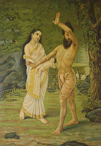 Vishvamitra - Birth of Shakuntala - Vishvamitra rejects the child and mother, because they represented to him a lapse in spiritual pursuits and his earlier renunciation of domestic/king's life. Painting by Raja Ravi Varma (1848–1906)