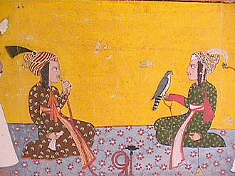 Baghal State - Rana Mehar Chand of Baghal seated with Jai Singh of Kulu. Pahari painting, early eighteenth century.