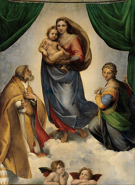 RAFAEL - Madonna Sixtina (Gemäldegalerie Alter Meister, Dresde, 1513-14. Óleo sobre lienzo, 265 x 196 cm)
