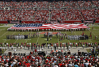 2007 Tampa Bay Buccaneers season - An American flag is unfurled on the field before the Bucs-Cardinals game